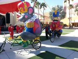 The trycaloons appear to be pedaled by whimsical balloon characters, but are actually powered by the person riding on the front.