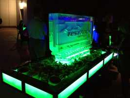 A raw bar, with the Test Track logo incased in ice was on display.