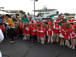The kids from Star Child Academy came out to the WESH 2 Studios and sang some songs while donating food.