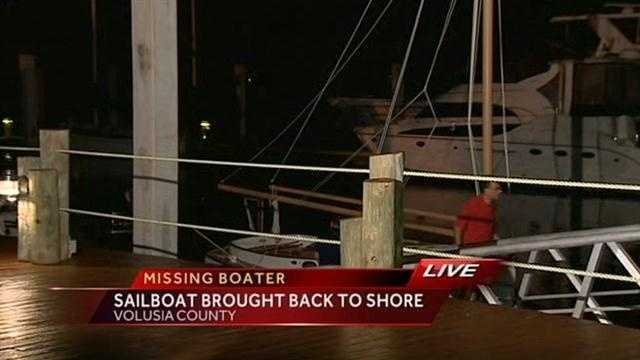 The Coast Guard has brought the boat of a missing man to shore.