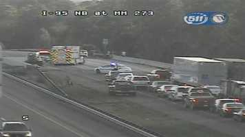 Interstate 95 southbound near U.S. 1 in Volusia County was shut down for a crash Wednesday.