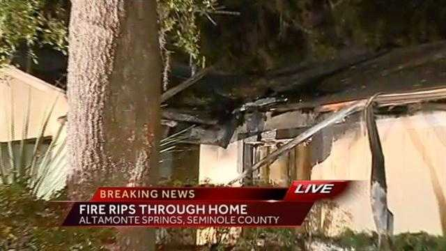Fire tears through a home in Altamonte Springs, Seminole County.