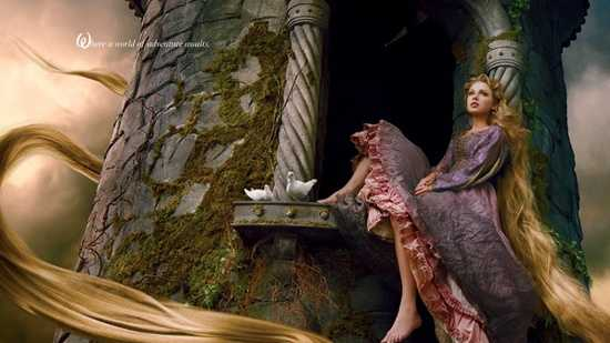 "Six-time Grammy winner Taylor Swift was embodied as Rapunzel.  The portrait is captioned, ""Where adventure awaits."""