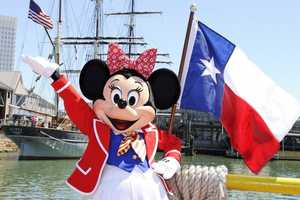 When Disney Cruise Lines introduced a ship to Texas, Minnie of course was there in her sailing outfit.