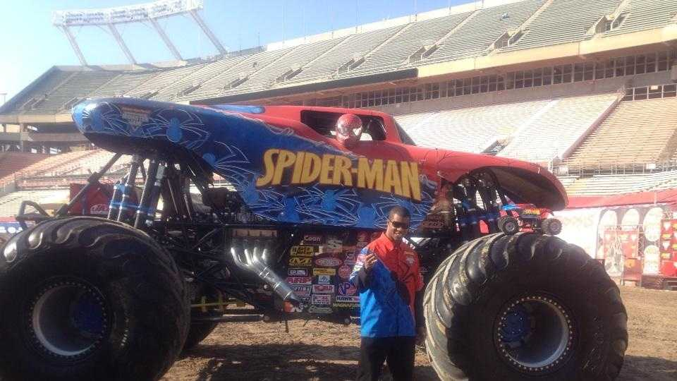 Bari drives Spiderman. He has been hooked on monster trucks since he was 6, and he lives here in Orlando.