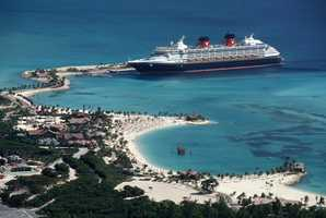 Disney Cruise Line guests enjoy a day-long visit to Castaway Cay, Disney's private Bahamian island, offering a variety of activities including a 12-acre snorkel trail, a nature trail ideal for hiking or biking and a lagoon set-aside for sailing, kayaking or paddle boating.