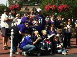 """After Sunday night's Super Bowl, Raven's quarterback Joe Flacco shouted, """"I'm going to Disney World.""""  Fans lined up Monday to see the MVP."""