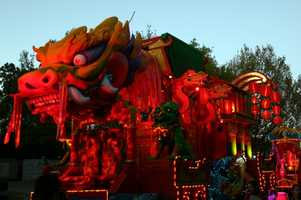 "The ""Chinese New Year"" float is filled with dragons and lanterns."