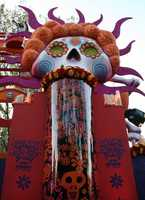 Dozens of skeleton figures and images decorate the float.