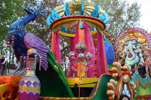 "An Indian peafowl stands at the front of the ""Elegance of India"" float."