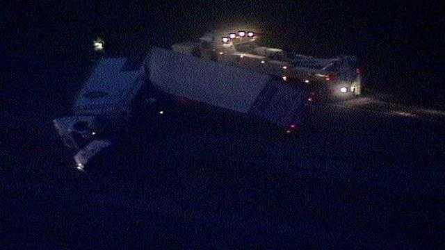 An overturned tractor-trailer forced the shutdown of southbound Fla. Turnpike.