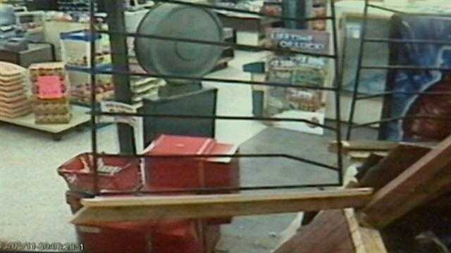 A store manager narrowly missed getting hurt after a car went crashing into a Sanford store.