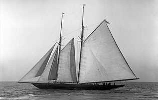The two-masted, 366-ton steel schooner-yacht originally named Germania was built in 1908 and considered one of the fastest of her day.  The vessel was seized as a prize of war and renamed Half Moon.  She was based in Miami and used as a floating saloon until she sank in the 1930s.