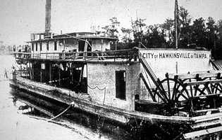 A Suwannee River Steamboat named City of Hawkinsville was built in Georgia in 1896.  The vessel was 141 feet long, with two decks, a single smoke stack, a square stern, and a molded bow.  City of Hawkinsville was used to move lumber along the river.