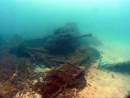 In 1919, Massachusetts returned to Philadelphia and was decommissioned for the final time. Stripped of her guns and furnishings, the obsolete ship was towed to Pensacola in January 1921 to be used as a target for experimental artillery, and scuttled just outside the entrance to the bay.