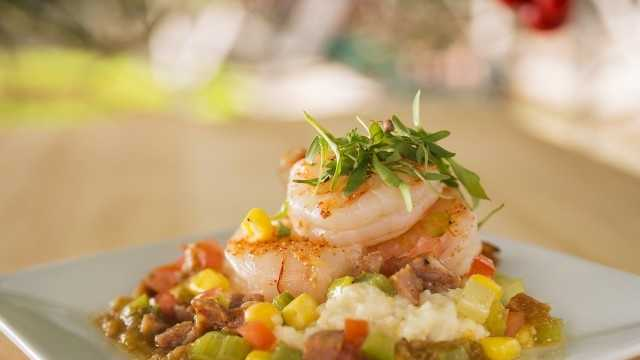 Shrimp and Stone Ground Grits with Andouille Sausage, fresh Zellwood Corn, Tomatoes and Cilantro