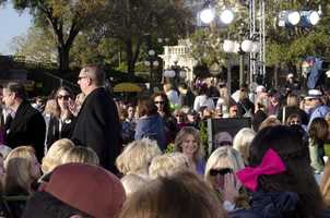 The crowd gets ready for the show Tuesday morning.
