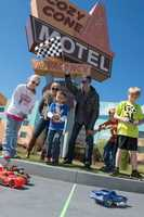 Busch, his girlfriend Patricia Driscoll and their son Houston joined with resort guests to race remote control cars.