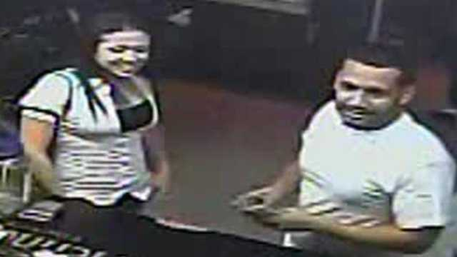 Surveillance photos show two of three wanted persons in a bar stabbing.