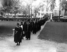 Mary McLeod Bethune opened the Daytona Educational and Industrial Training School for Negro Girls in 1904.  It evolved into a junior college by 1931 and became known as Bethune-Cookman College.  A graduating class in 1946 is shown in the picture.