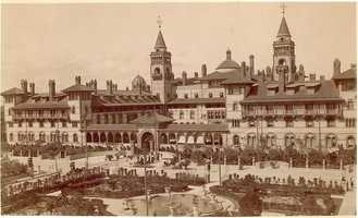 In 1888, Henry Flagler built the Hotel Ponce de Leon, his first in a series of luxury resorts along Florida's east coast.  The hotel was gifted to Flagler College when the institution was founded in 1968.  The photo is of the hotel in 1888.