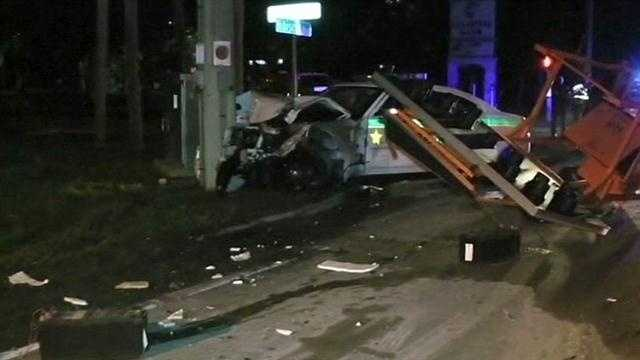 A Brevard County Sheriff's deputy is under investigation after an accident in a construction zone that left his patrol car shattered and damaged a road construction truck.