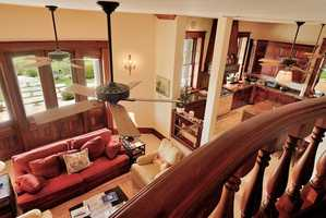 Overlooking the living room from the staircase.
