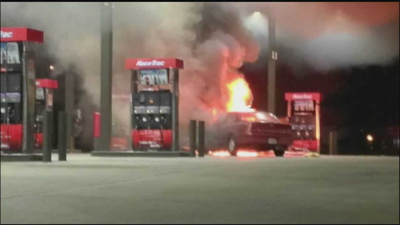 Police said a drunken driver plowed into a gas pump Thursday night, causing that pump to go up in flames.