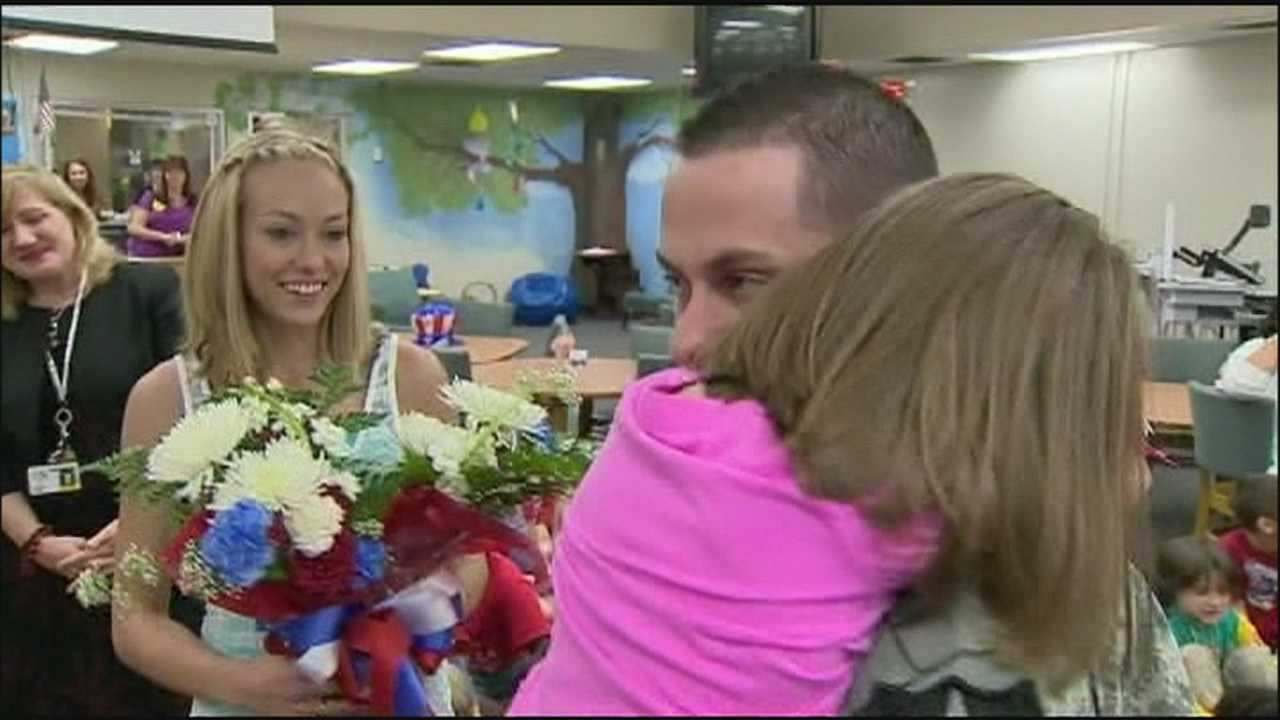 First-grader gets surprise at school from deployed father