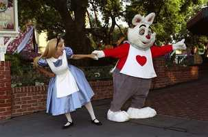 "White Rabbit - White Rabbit plays a key part in the 1951-film ""Alice in Wonderland,"" as he was the character Alice followed into Wonderland. Although he's known for being late for important dates, guests can occasionally meet him at Fantasyland at Magic Kingdom."