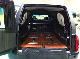 Six different hearses and funeral transportation vehicles were on display.