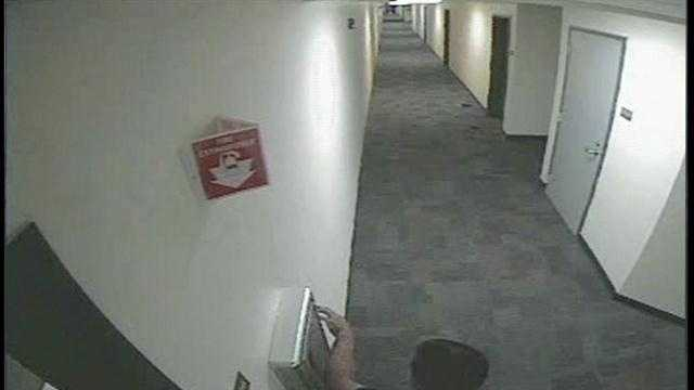 New video has been released from the University of Central Florida showing an alleged attack plotter pulling the fire alarm.