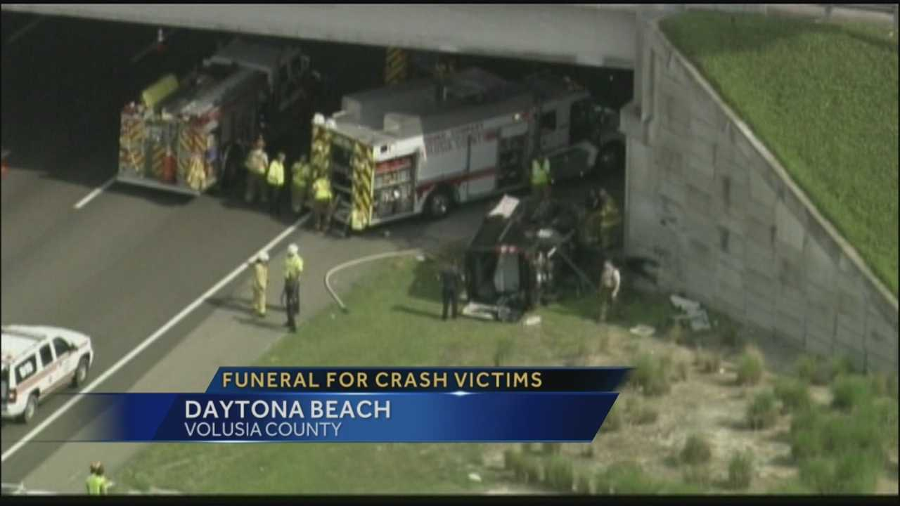 Funeral held for three crash victims who were killed Friday in I-95 in Volusia County.