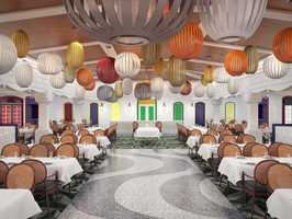 The vibrancy of Rio de Janeiro creates an energetic atmosphere in Carioca's, a new restaurant on the Disney Magic.
