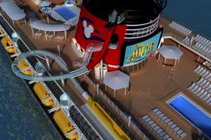 AquaDunk on the Disney Magic is a thrilling three-story body slide that begins with a surprise launch, sending guests on a near-vertical drop and through a translucent tube that extends 20 feet over the side of the ship.