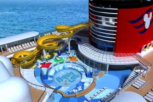 In the new Aqua Lab water playground on the Disney Magic, families can frolic among pop jets, geysers and bubblers. Interactive games keep the kids moving, while the Twist n' Spout water slide gets them delightfully drenched.
