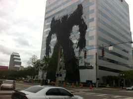 The image of a Transformer has appeared on a building in downtown Orlando.
