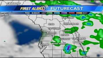 The rain will continue in pockets all day Thursday.  See an hour-by-hour view of what to expect.