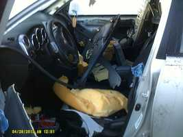 A bear somehow got trapped inside a car in Paisley and went wild as it tore up the whole interior.