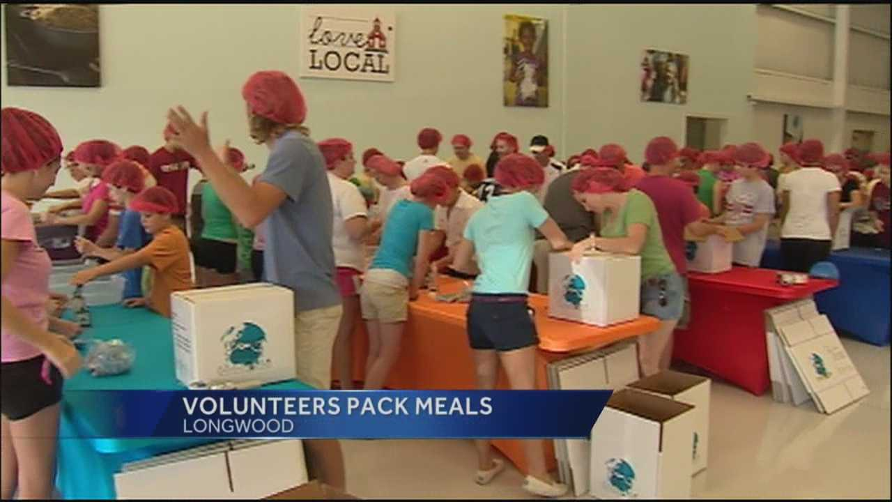 Volunteers pack food to send to victims of the Oklahoma tornado.