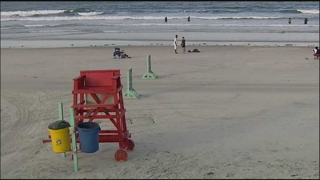 Dozens of people were caught in the surf at Daytona Beach Sunday.