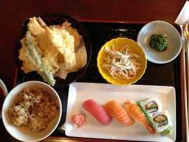 The Ginza box includes shrimp and scallop tempura with sushi nigiri and a California roll.