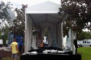 The WESH 2 tent built on top of the stage to protect from the elements.