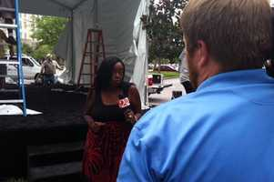 WESH 2's Gail Paschall-Brown reports from construction of the media setup.