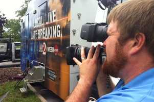 WESH 2 photographer Scott Pisczek gets video of the media area.