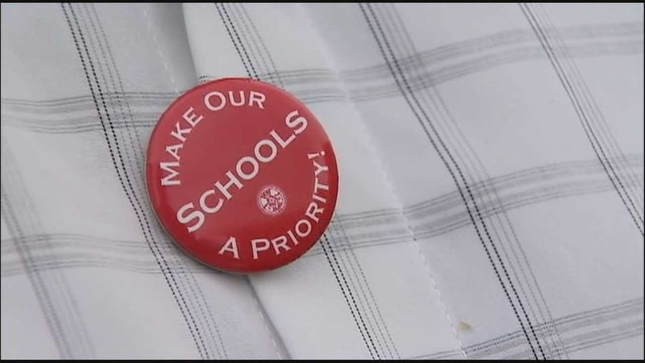 Teachers and parents protested massive cuts to education in Ocala on Wednesday, calling on county leaders to make education a bigger priority.