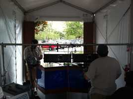 Constructing the set in the WESH tent.
