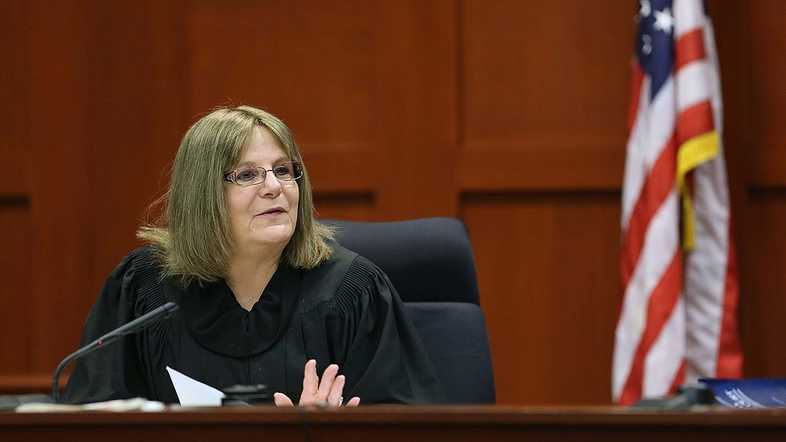 Judge Debra Nelson addresses a prospective juror in Seminole circuit court on the 3rd day of the George Zimmerman trial, in Sanford, Fla., Wednesday, June 12, 2013. Zimmerman is accused in the fatal shooting of Trayvon Martin. (Joe Burbank/Orlando Sentinel)