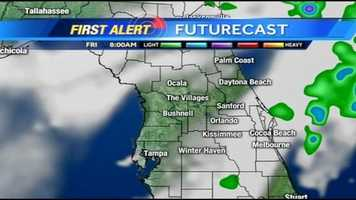 See an hour-by-hour look at rain expected in Central Florida on Friday.
