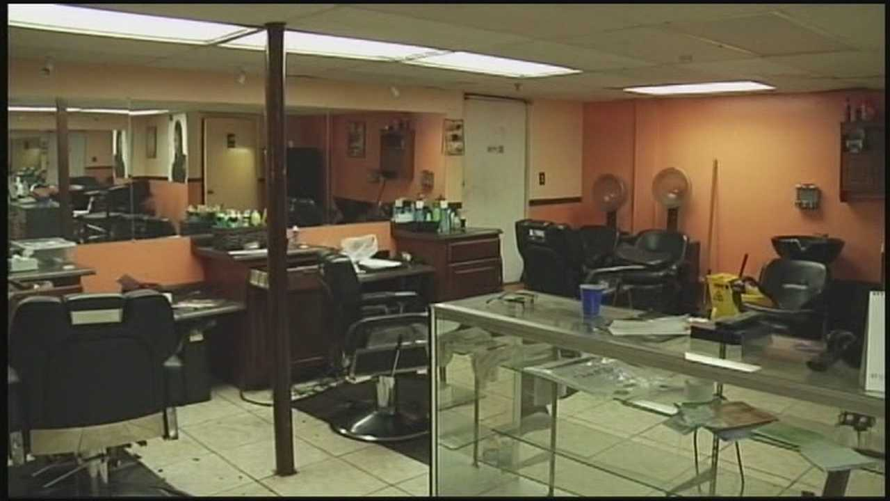 Two robbers are on the run after a frightening salon robbery.
